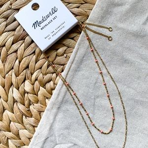 Madewell Gold Chain Coral Enamel Bead Necklace Set